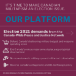 An anti-war platform for the 2021 federal election from the Canada-Wide Peace and Justice Network